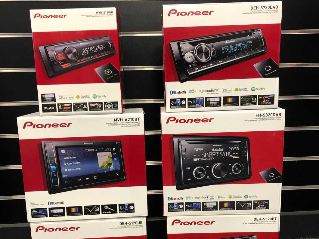 Pioneer in car head units, speakers and Dash cameras in stock and available for installation.