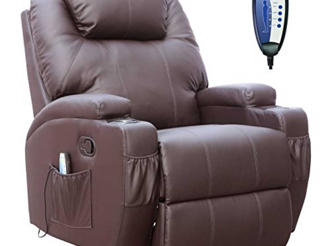 Unionline Bonded Leather Massage Cinema Recliner With Heating Function Cup Holder (Brown)