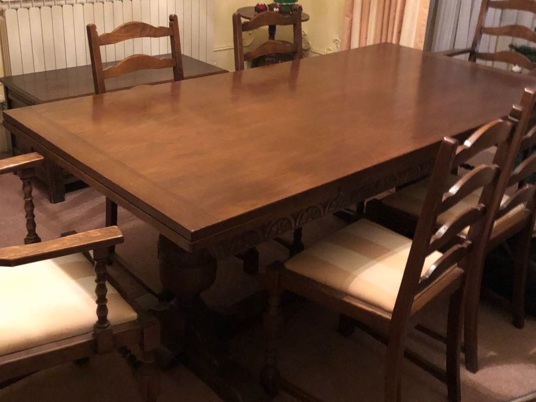 Oak Dining Table And 6 Chairs Dining Room Tig Gg
