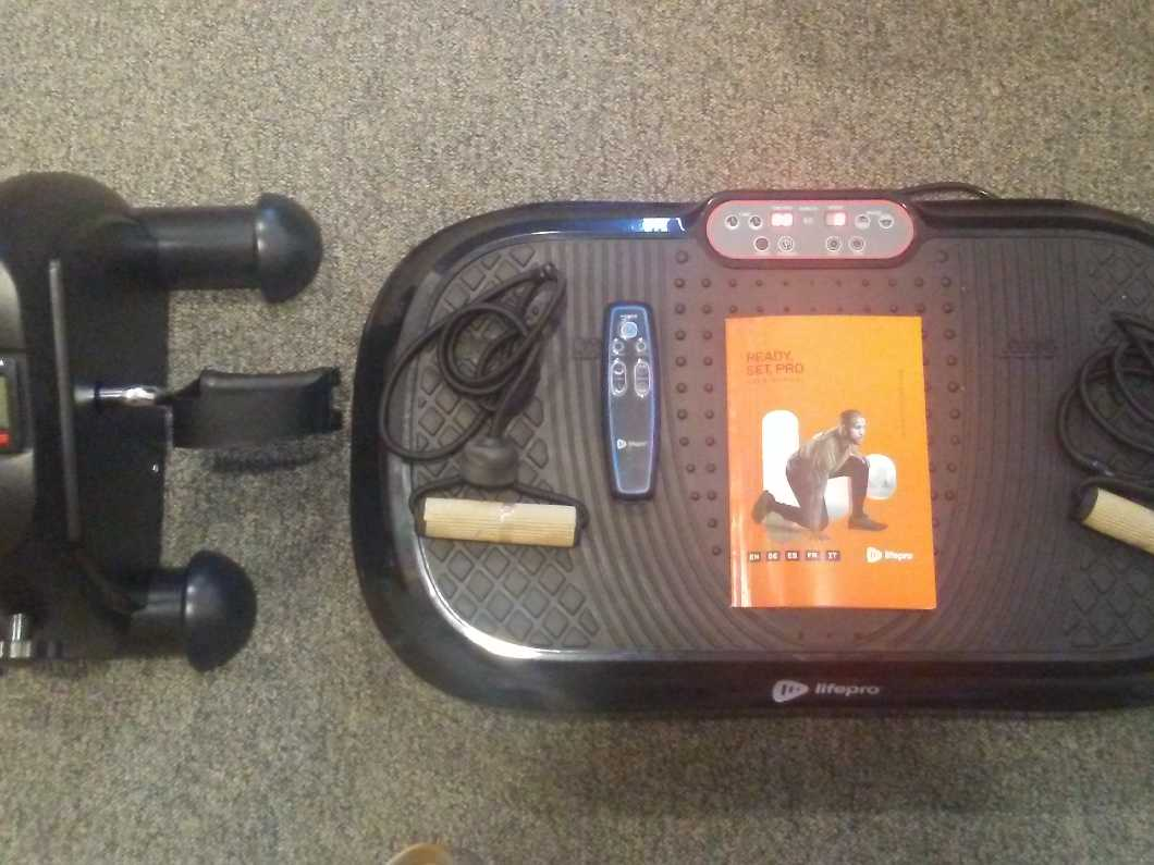 As new Lifepro Vibration Plate exercise machine + AGM mini exercise bike + Renpho hand held deep tissue massager for muscles+