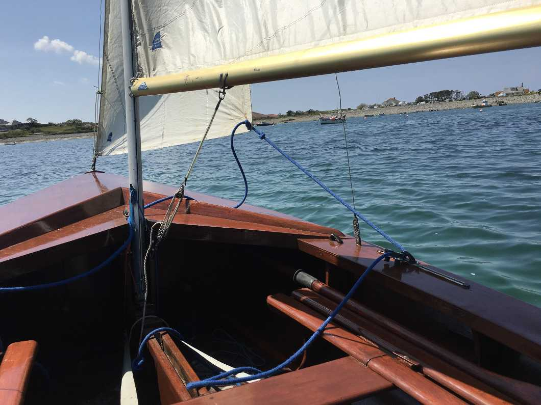 Wayfarer - all wood with a sail number 273 (around 1958) for sail with trailer and launching trolly.
