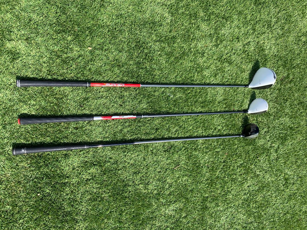 Left handed golf woods, driver, 3 wood and 5 wood