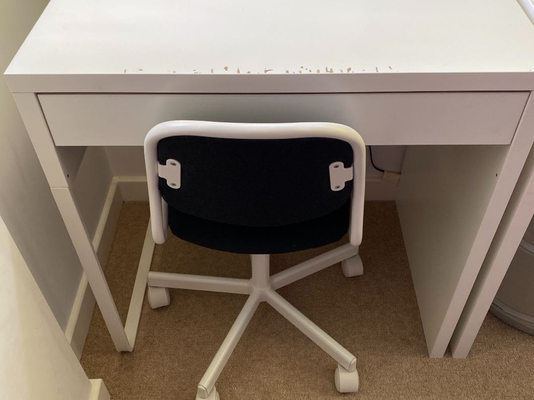 Two childrens desks and chair
