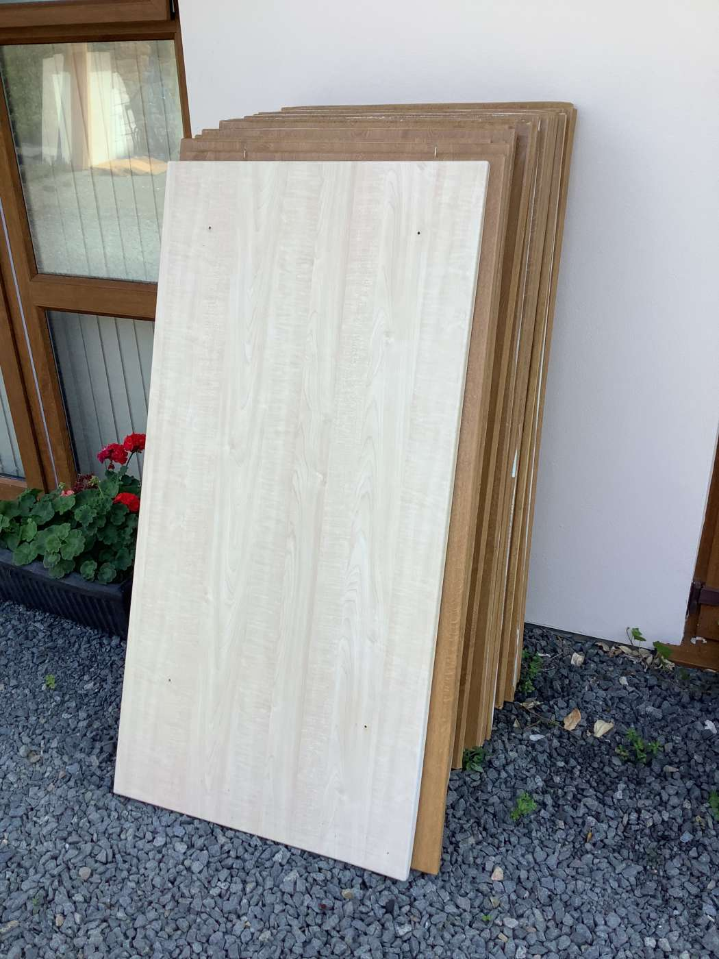 Delaminated melamine chipboard bed headboards, cupboard doors, bedside table tops and drawer fronts