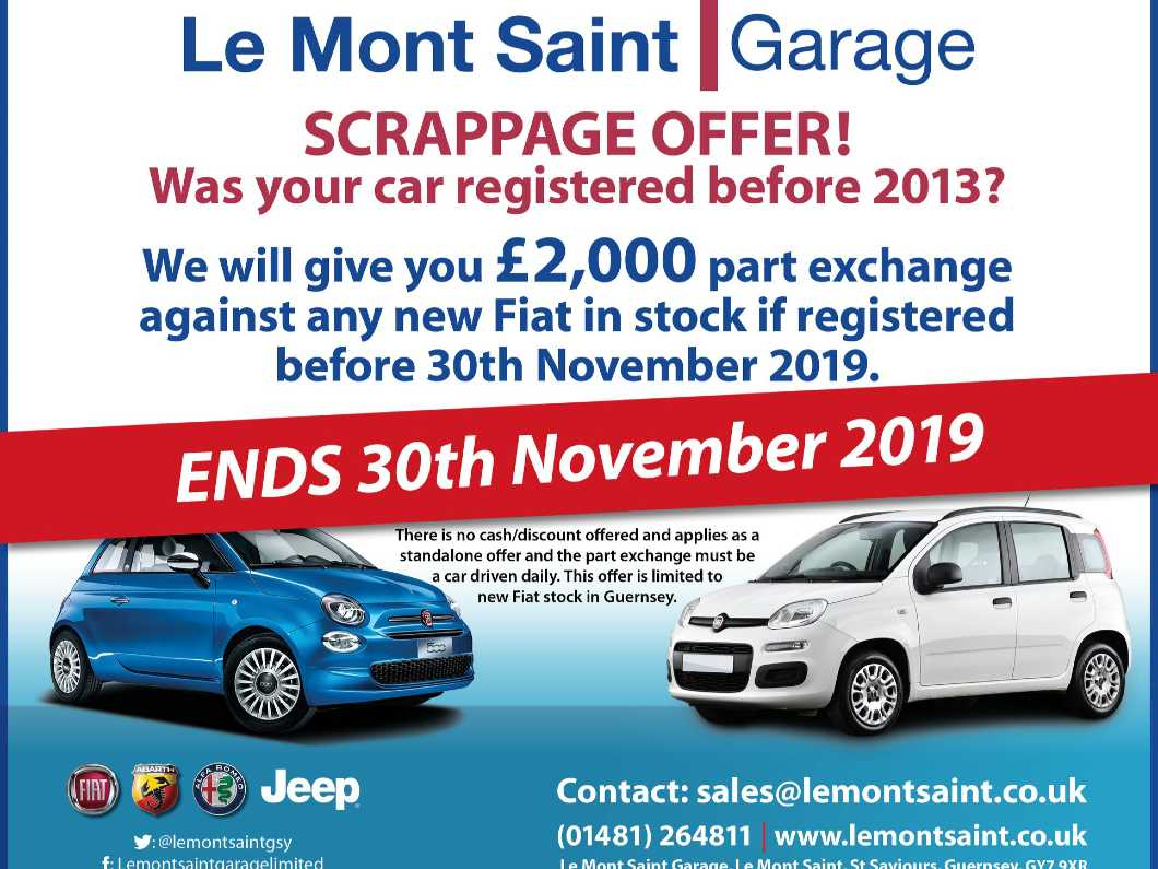 £2,000 Scrappage Scheme on Any Brand New Fiat in Stock at Le Mont Saint Garage