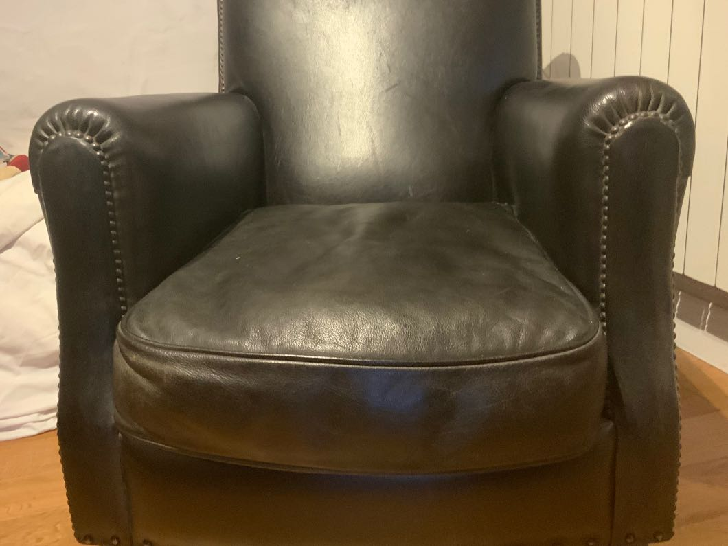 Pair of studded leather club chairs - immaculate condition