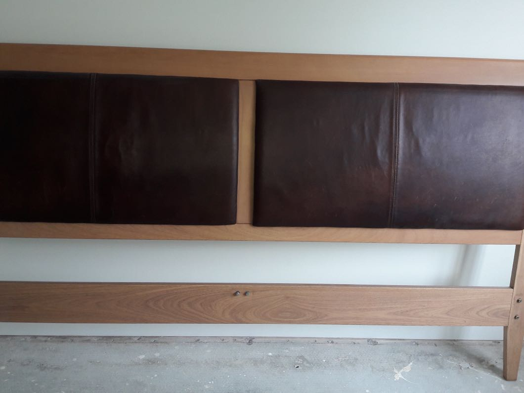 Super King Size wooden bed frame with leather headboard