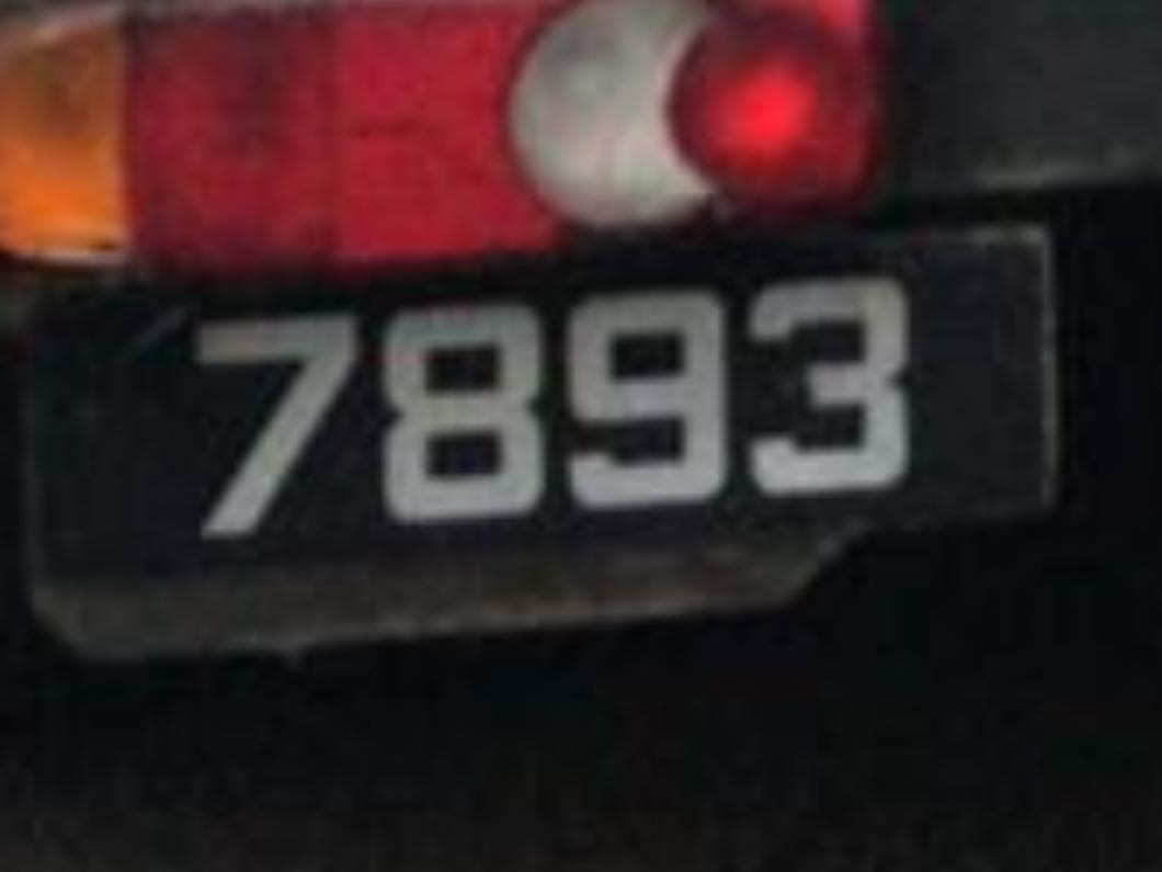 Car number plates 4 digits