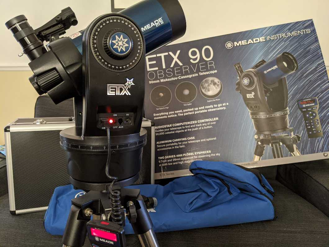 Meade Instruments ETX90 Observer Portable Computerised Telescope with Hard and Soft Carry Cases - Metallic Blue