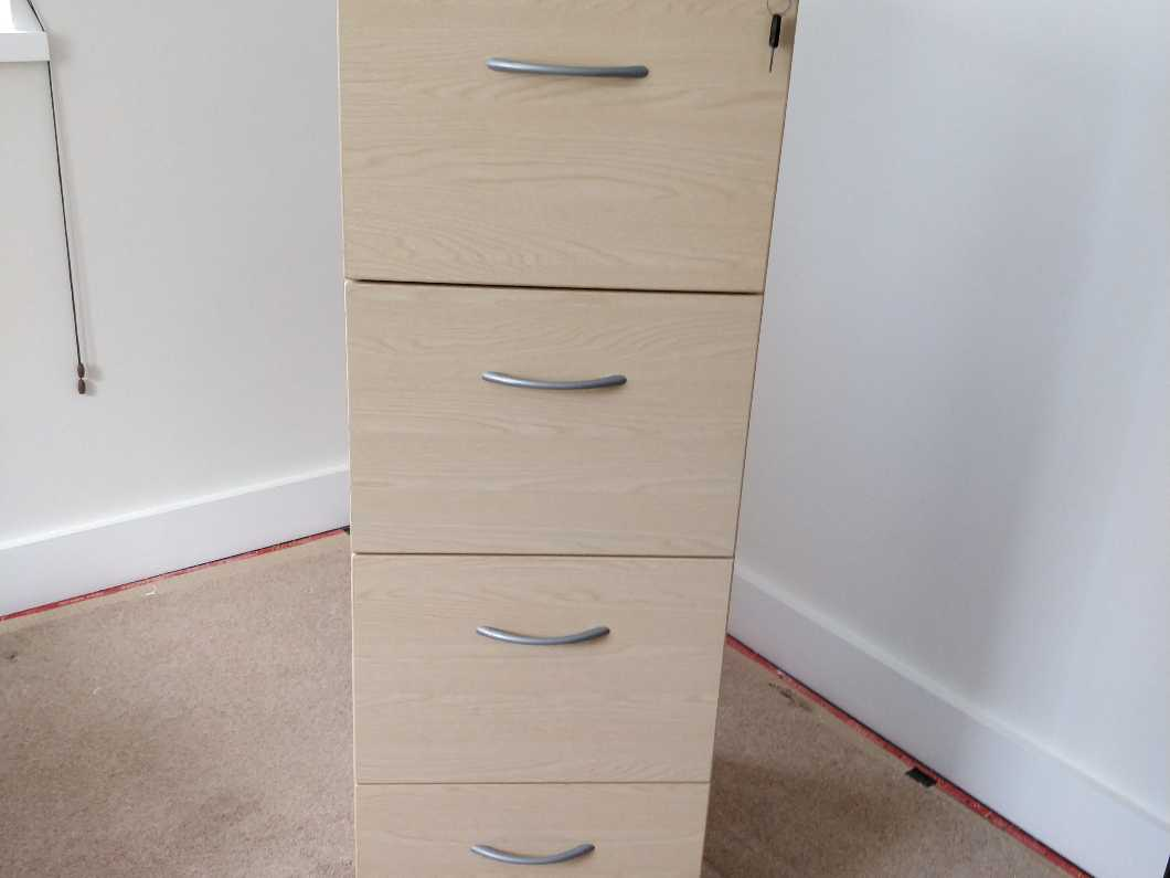 4-Drawer Filing Cabinet - Colour: Beech