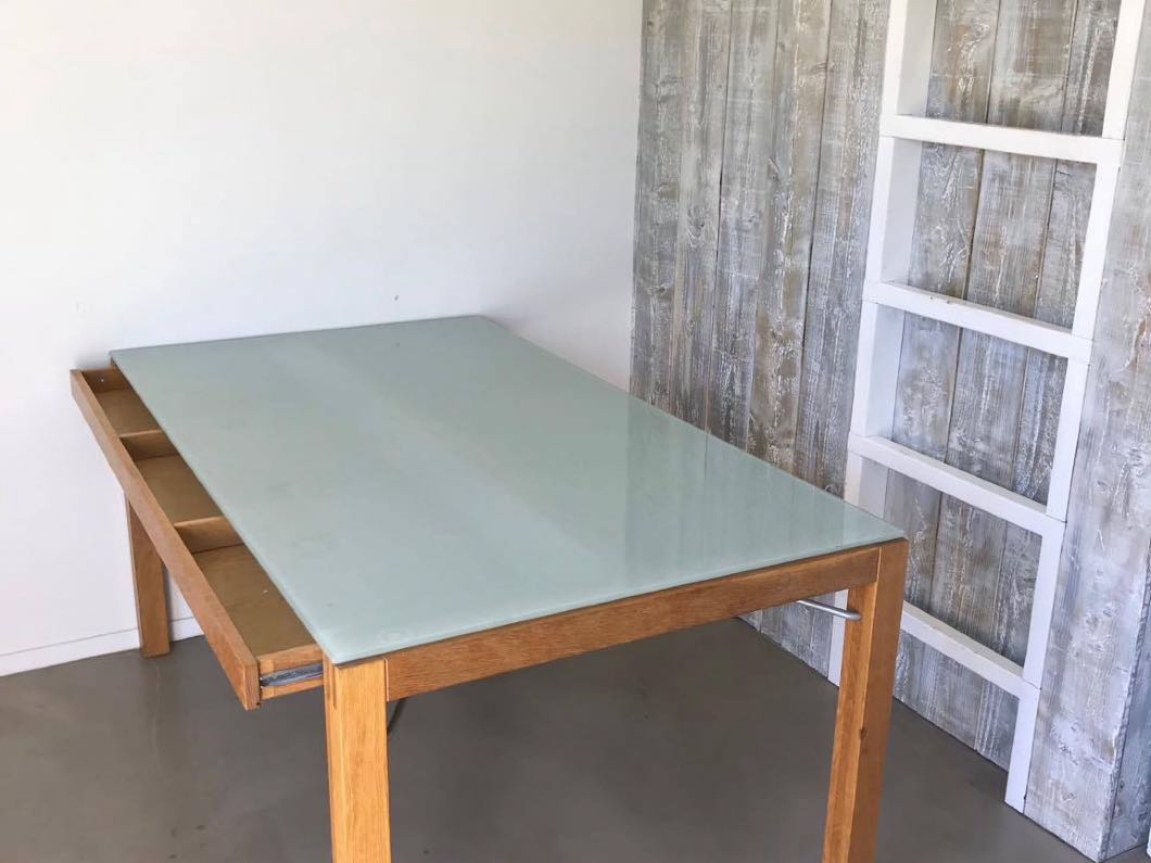 Dining Table - Glass top with two draws