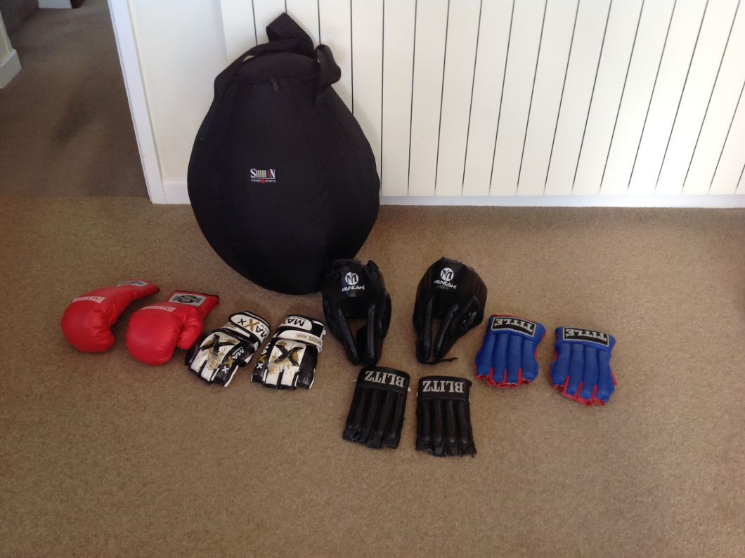 Boxing equipment for sale.