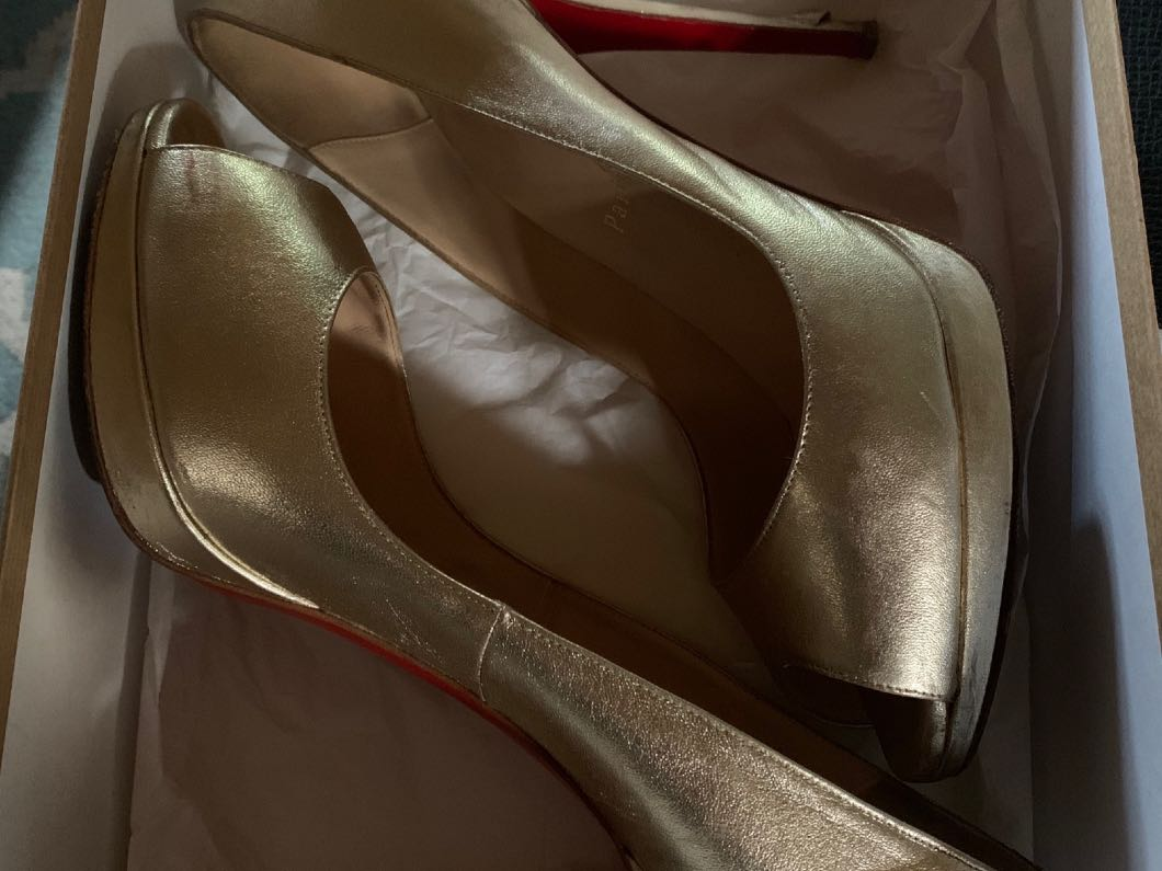 Christian Louboutin Gold Leather Heels 120mm Size 39.5